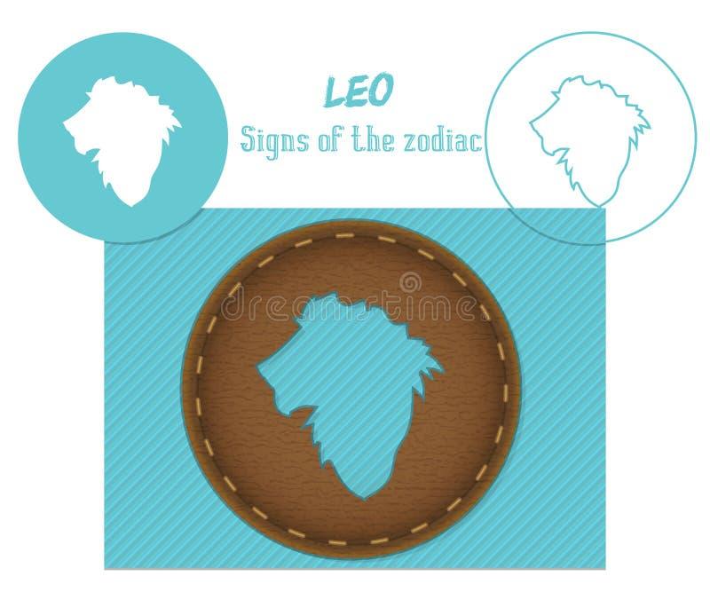leo Sinais do zodíaco Corte de Lazenaya Pode ser usado para o corte do laser da madeira, couro, papel, cartão, plástico ilustração stock
