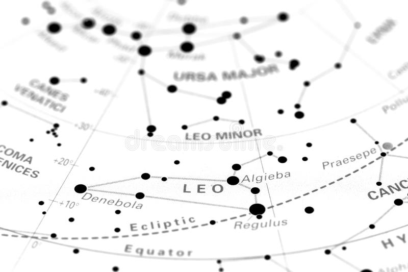 Leo On Star Map B Royalty Free Stock Image