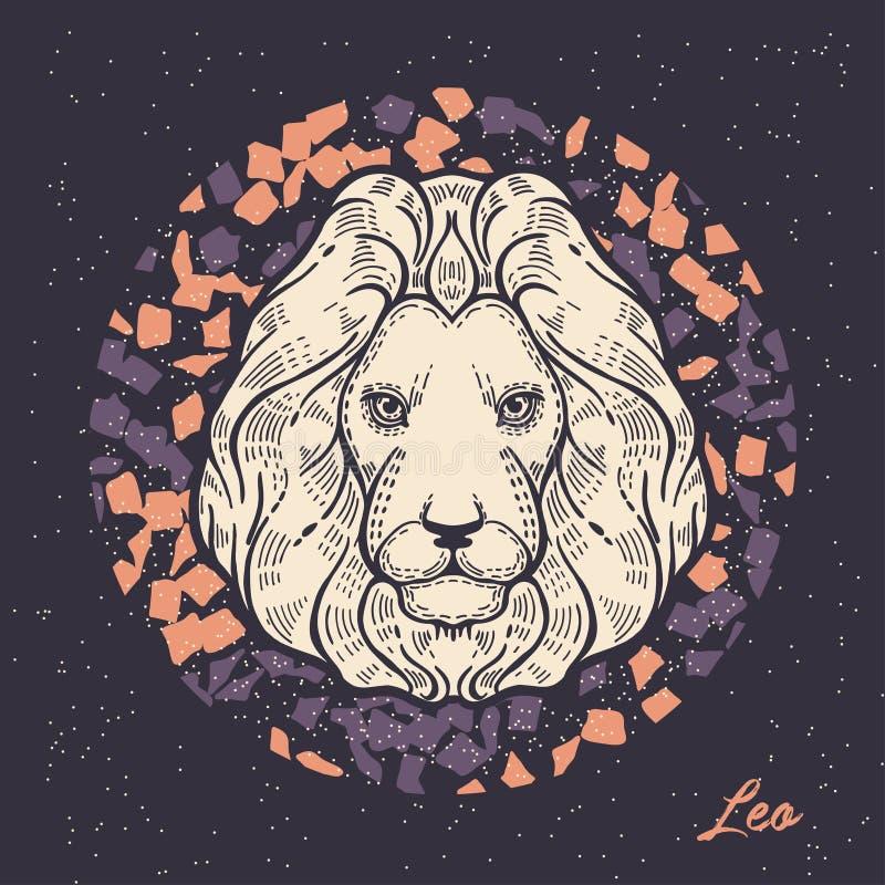 leo teckenzodiac Symbolet av det astrologiska horoskopet royaltyfri illustrationer