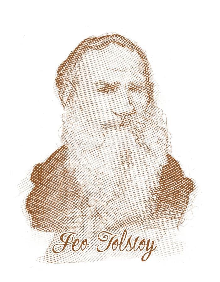 Leo Tolstoy rytownictwa stylu nakreślenia portret