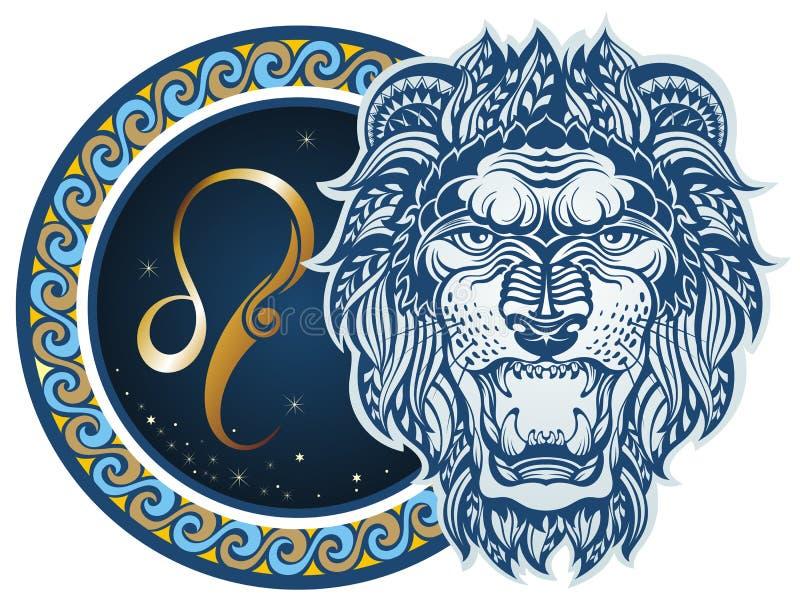 leo undertecknar zodiac royaltyfri illustrationer