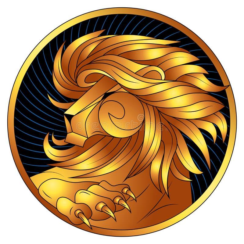 Leo, złoty zodiaka znak, wektorowy horoskopu symbol royalty ilustracja