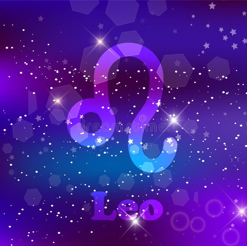 Leo Zodiac se connectent un fond pourpre cosmique avec les étoiles et la nébuleuse de scintillement illustration libre de droits
