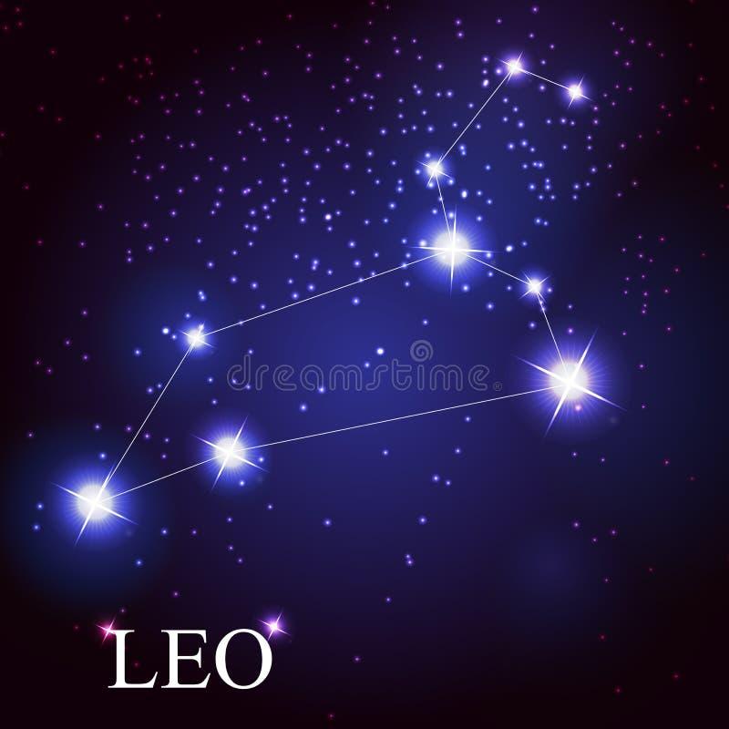 Leo zodiac sign of the beautiful bright stars royalty free illustration