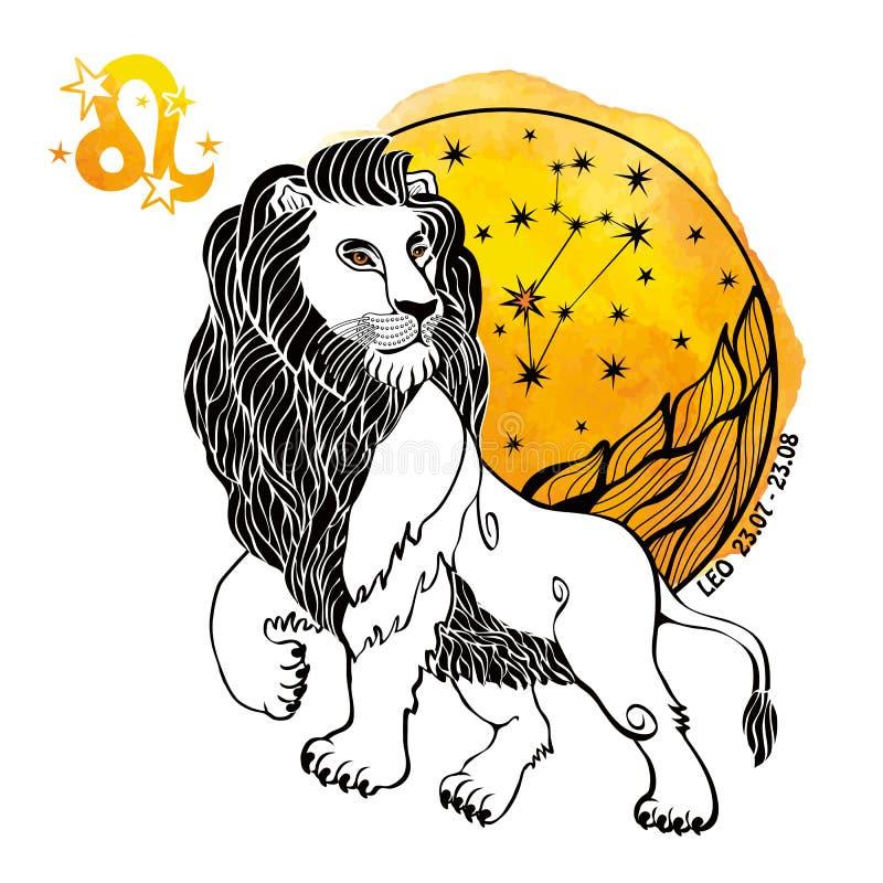Leo Zodiac Sign Cerchio dell'oroscopo Spruzzata dell'acquerello illustrazione di stock