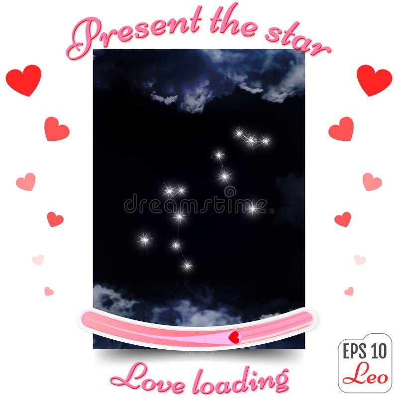 Leo Zodiac Sign Constellation de Lion Horoscope, étoiles Th actuel illustration de vecteur