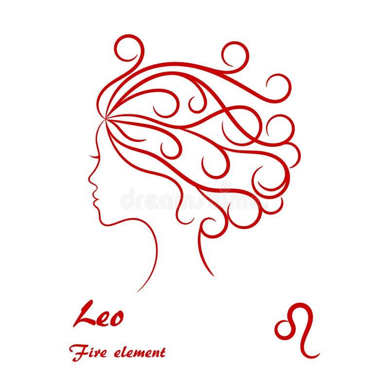 Leo Zodiac Sign Profil femelle stylisé de découpe illustration stock