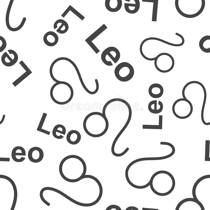 Leo zodiac sign seamless pattern background. Business flat vector illustration. Leo astrology sign symbol pattern. royalty free illustration