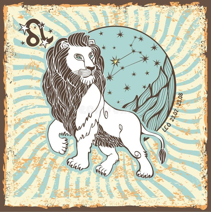 Leo Zodiac Sign Weinlese-Horoskopkarte lizenzfreie abbildung