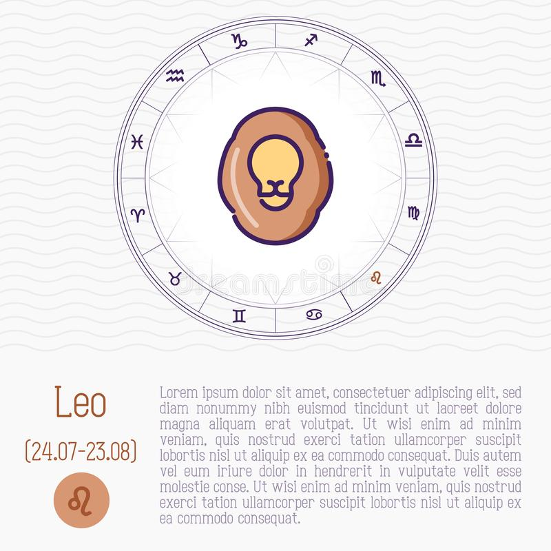Leo in zodiac wheel, horoscope chart. With place for text. Thin line vector illustration stock illustration