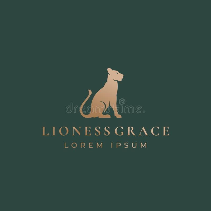 Leoa Grace Abstract Vetora Sign, emblema ou Logo Template Gracefull que senta Lion Silhouette com tipografia retro ilustração stock