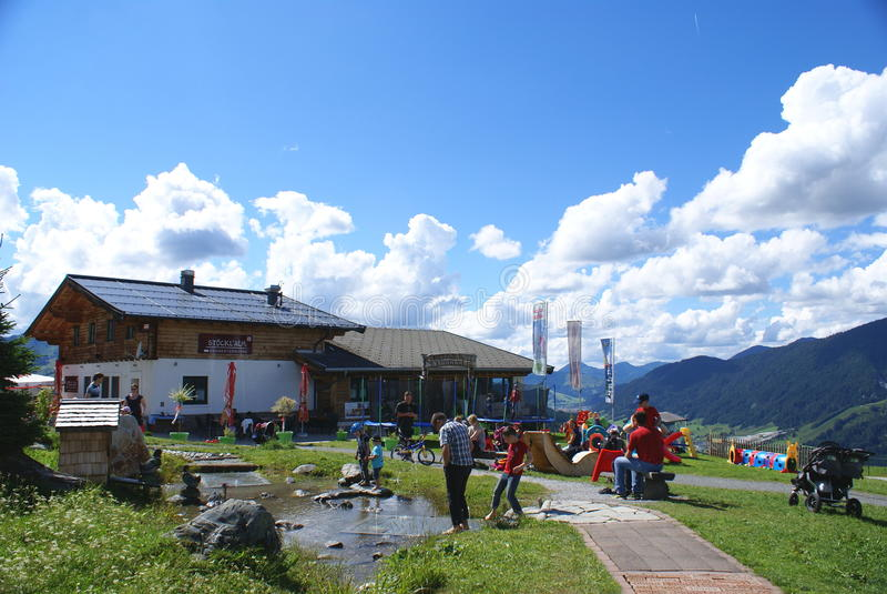 Leogang Theme Park. ALPS MOUNTAINS,LEOGANG,AUSTRIA - JULY 15, 2014. Senses experience theme park in the famous Leogang Park, in the Alps Mountains stock images