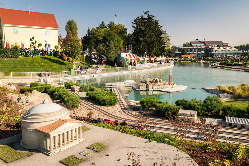 Leolandia is an Italian amusement park famous for the miniature. Bergamo, Italy - October 30, 2016: Leolandia is an amusement park famous for the miniature royalty free stock photo