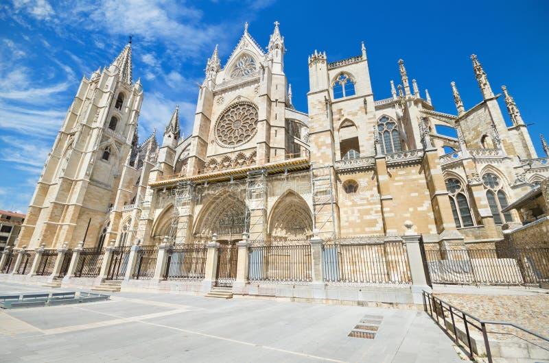 Leon Cathedral, Castilla y Leon, Espanha fotos de stock royalty free