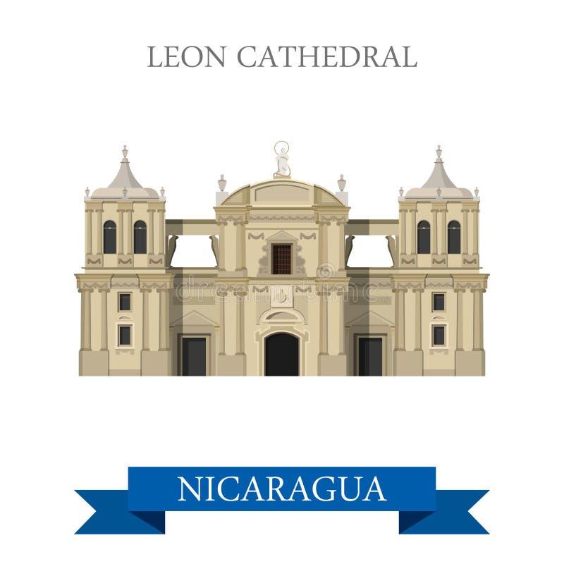 Leon Cathedral i gränsmärken för dragning för Nicaragua vektorlägenhet vektor illustrationer