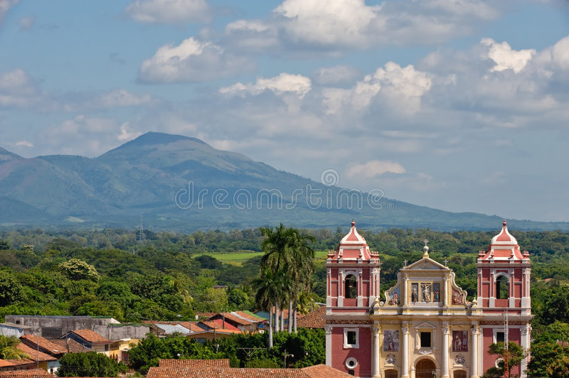 Leon city cathedral Nicaragua stock images