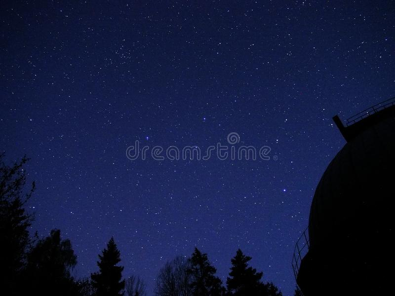 Leon constellation and coma berenices stars on night sky royalty free stock photography