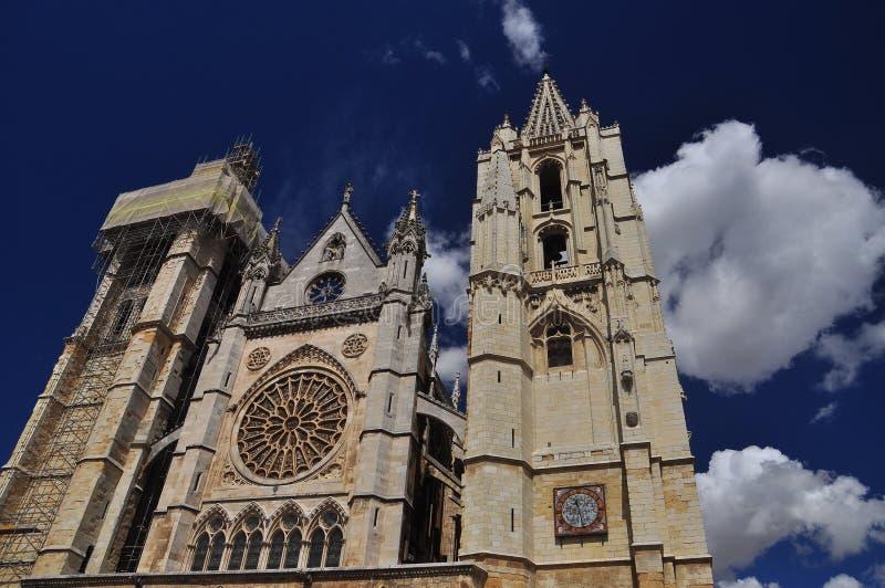 Leon, Hiszpania. Gocka katedra obrazy royalty free