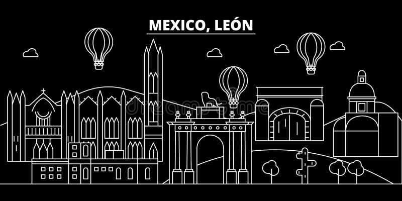 Leon-Schattenbildskyline Mexiko- - Leon-Vektorstadt, mexikanische lineare Architektur, Gebäude Leon-Linie Reise stock abbildung