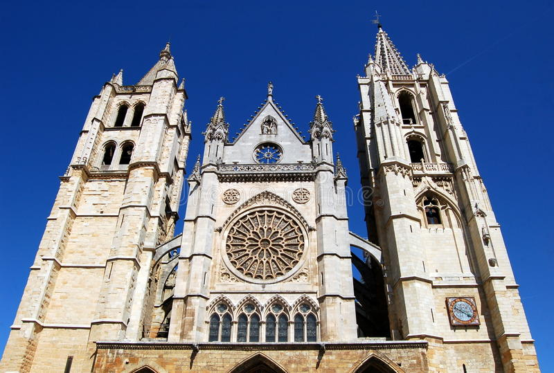 Leon, Spain: West front of Gothic Cathedral royalty free stock photo