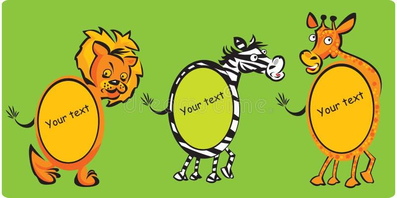 Leon, zebra, giraffa illustrazione di stock