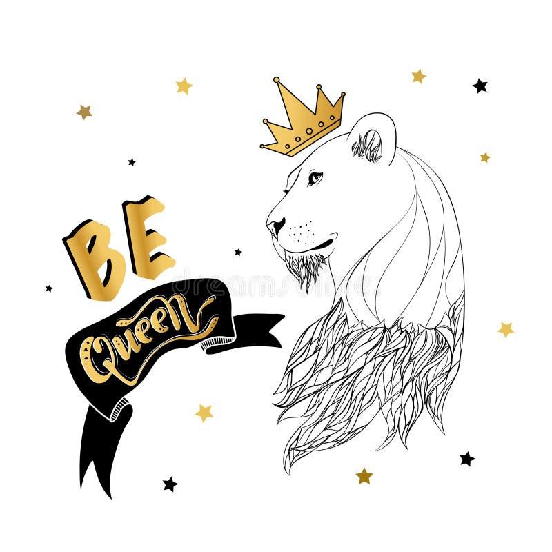 Leona en la corona con una impresión del lema libre illustration