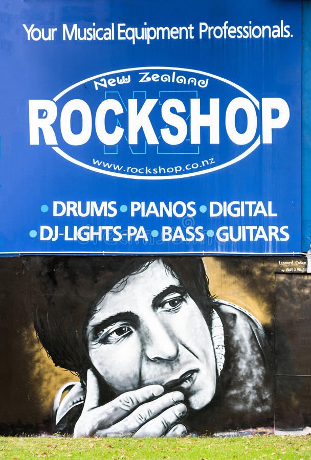 Leonard Cohen mural at Rockshop in Auckland. royalty free stock photo