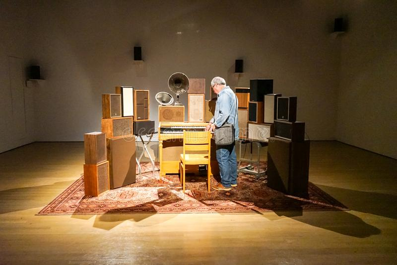 Leonard Cohen-muziek in MAC Museum stock foto