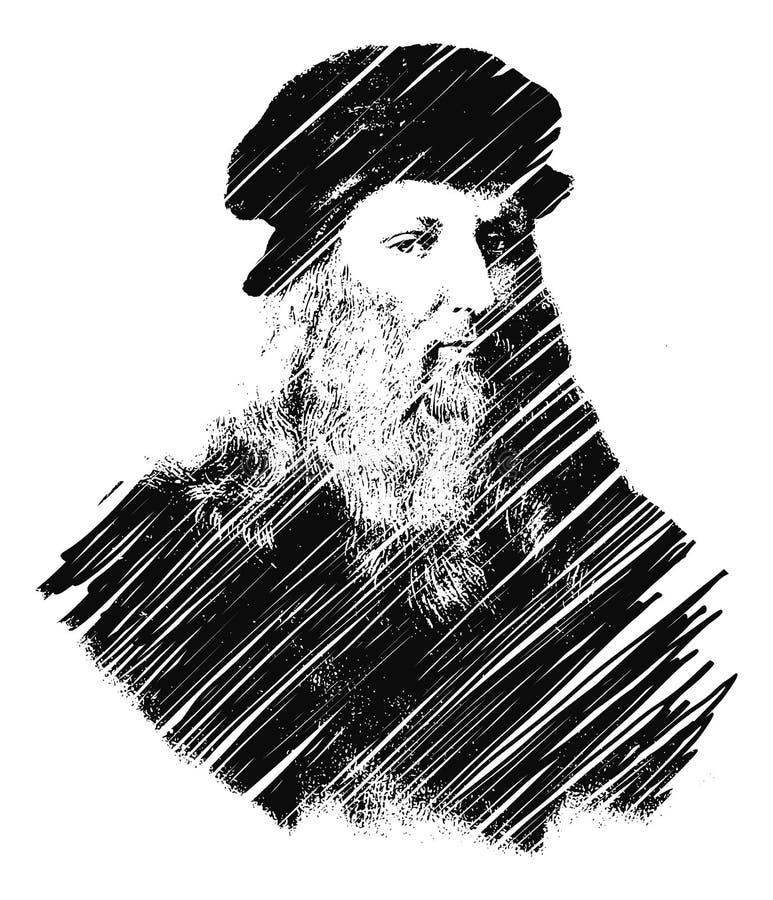 Leonardo Da Vinci stock illustrationer