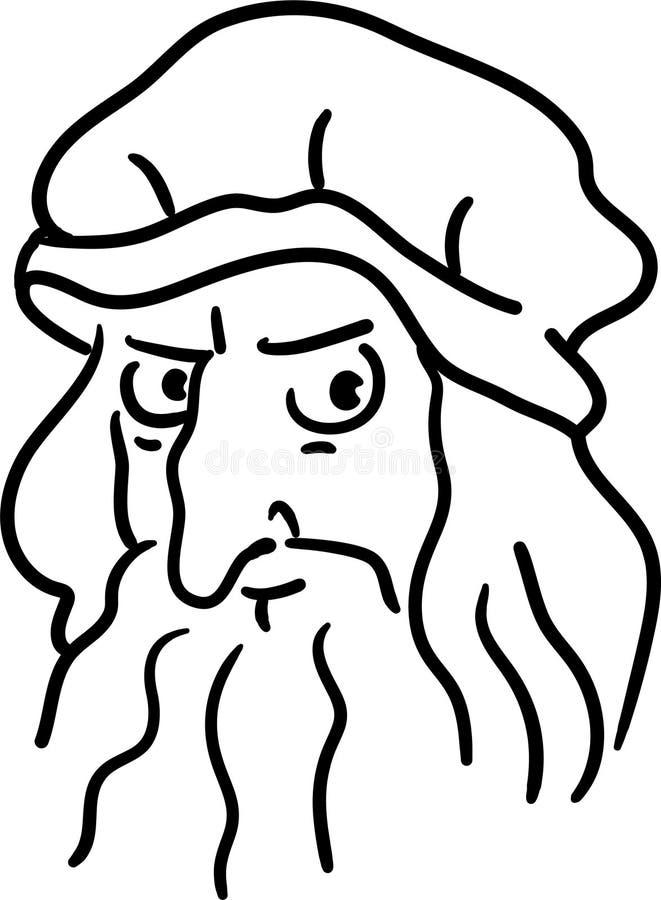 Leonardo Da Vinci-beeldverhaalhand getrokken portret De grappige eenvoudige karikatuur van de lijnkunst van een groot kunstenaar  vector illustratie