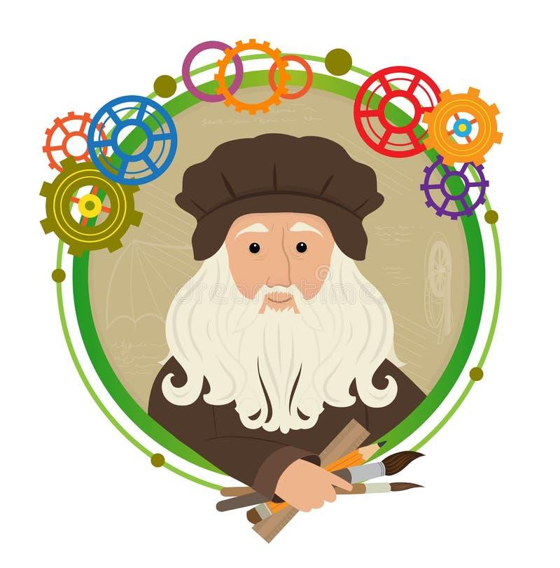 Leonardo Da Vinci Cartoon royaltyfri illustrationer