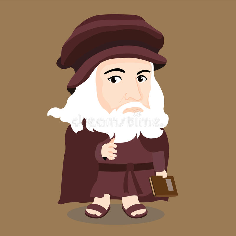Leonardo da Vinci Character royaltyfri illustrationer