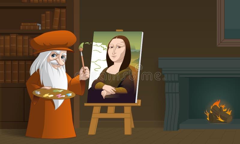 Leonardo da Vinci che dipinge Mona Lisa royalty illustrazione gratis