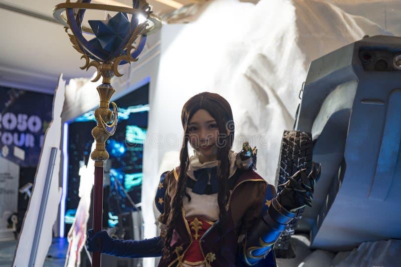 Leonardo Da Vinci cosplayer στη Sony EXPO 2019 στοκ φωτογραφία με δικαίωμα ελεύθερης χρήσης