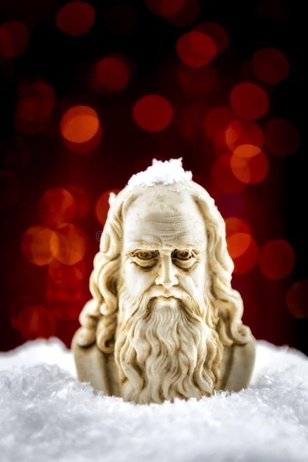 Leonardo da Vinci en la nieve foto de archivo libre de regalías