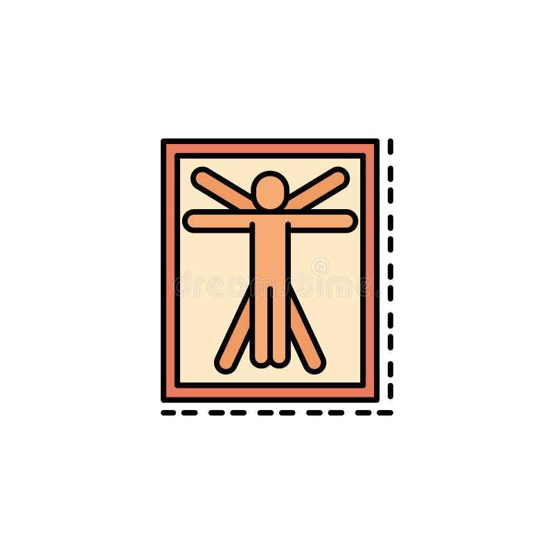 Leonardo da Vinci, famoso, icona dell'uomo Elemento dell'icona di colore di storia per i apps mobili di web e di concetto Colore  illustrazione di stock