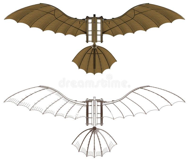 Leonardo da Vinci Flying Machine Vector stock illustrationer