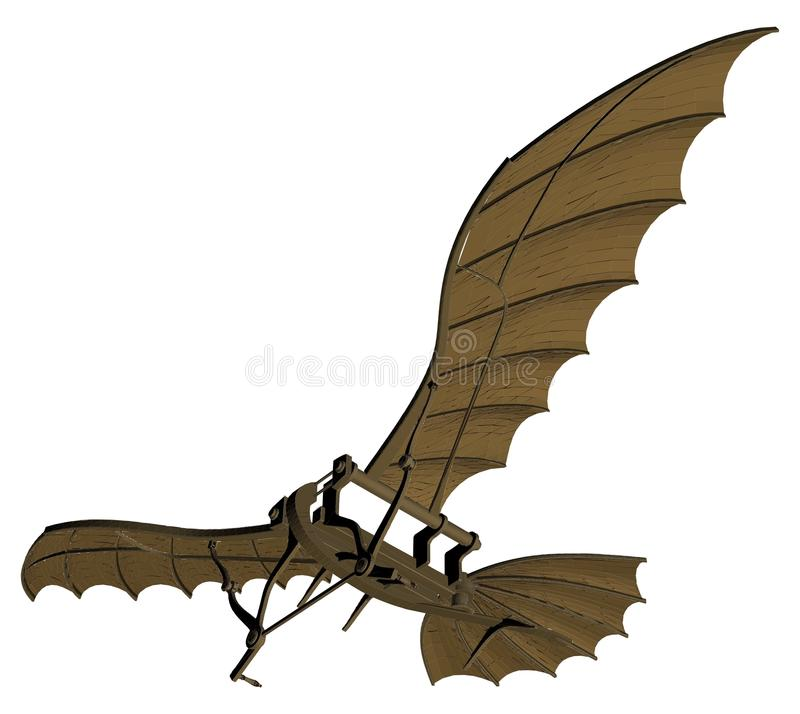 Leonardo da Vinci Flying Machine Vector royalty-vrije illustratie