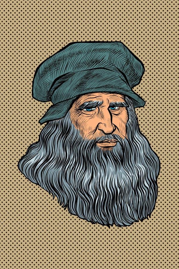 Leonardo da Vinci, Italian painter, inventor and sculptor. Comic cartoon pop art retro drawing illustration stock illustration