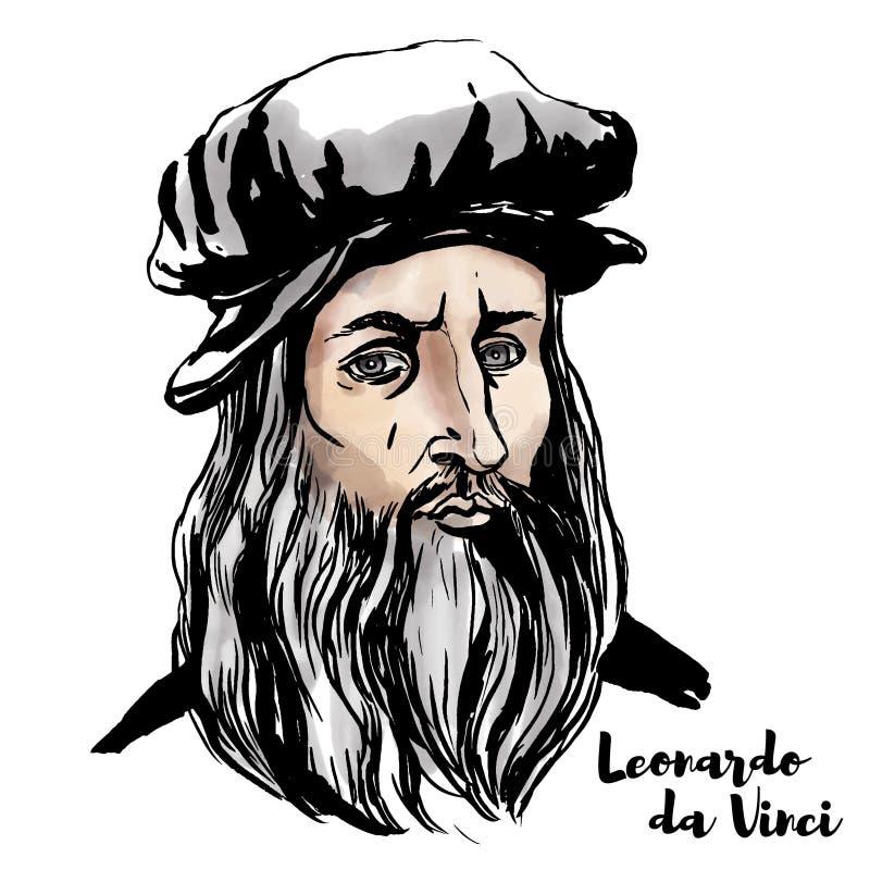 Leonardo da Vinci Portrait royaltyfri illustrationer