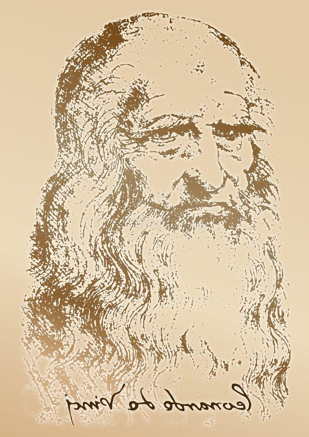 Leonardo Da Vinci-portret, grafische uitwerking vector illustratie