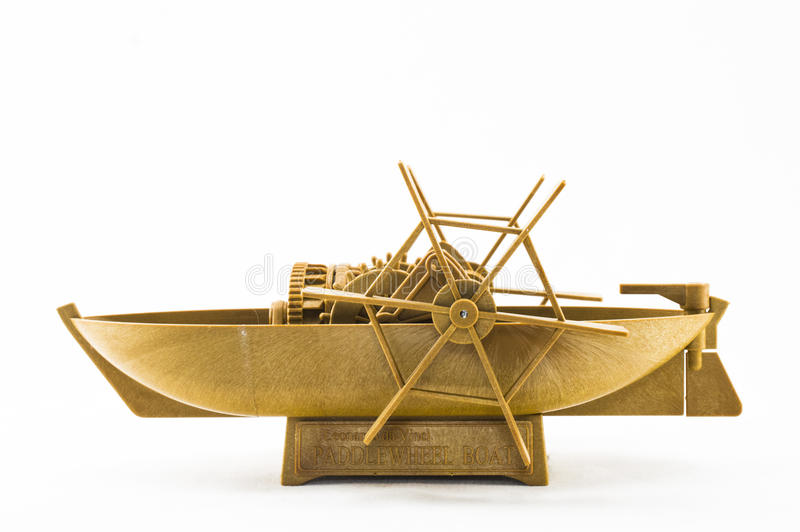 Leonardo da Vinci`s paddlewheel boat. Isolated Leonardo da Vinci`s paddlewheel boat on white background stock photos