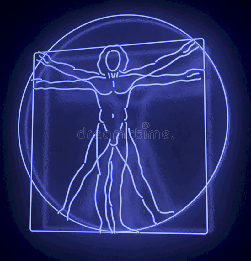 Leonardo Da Vinci's Vitruvian Man in a Blue Neon Tube, Quadratus, 3d rendering on black background vector illustration