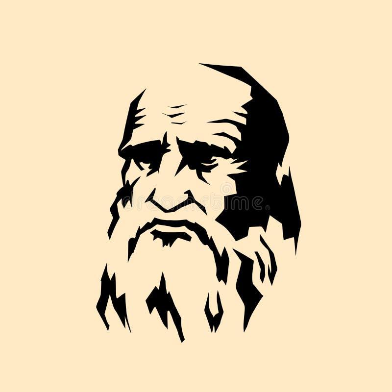 Leonardo da Vinci stylized portrait. The artist sculptor scientist engineer of the Renaissance. Comic cartoon pop art retro vector illustration drawing royalty free illustration