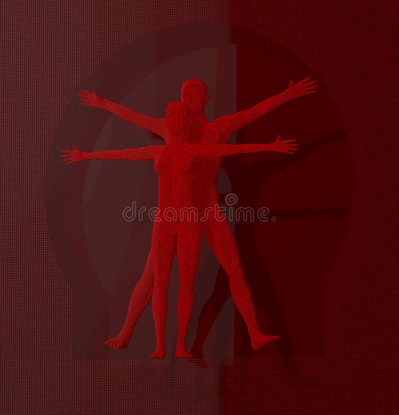 Free Leonardo Da Vinci Vetruvian Man, Quadratus Depicted In A Grid Of Small Red Cubes, Voxels, Digital Style Royalty Free Stock Images - 42307899