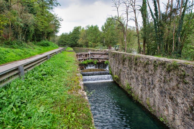 Leonardo Da Vinci Waterfall Auf dem Fluss Adda stockfoto