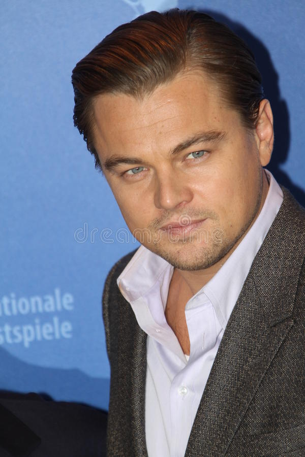 Leonardo DiCaprio. BERLIN - FEBRUARY 13: Leonardo DiCaprio attends the 'Shutter Island' Photocall during day three of the 60th Berlin Film Festival at the Grand stock photo