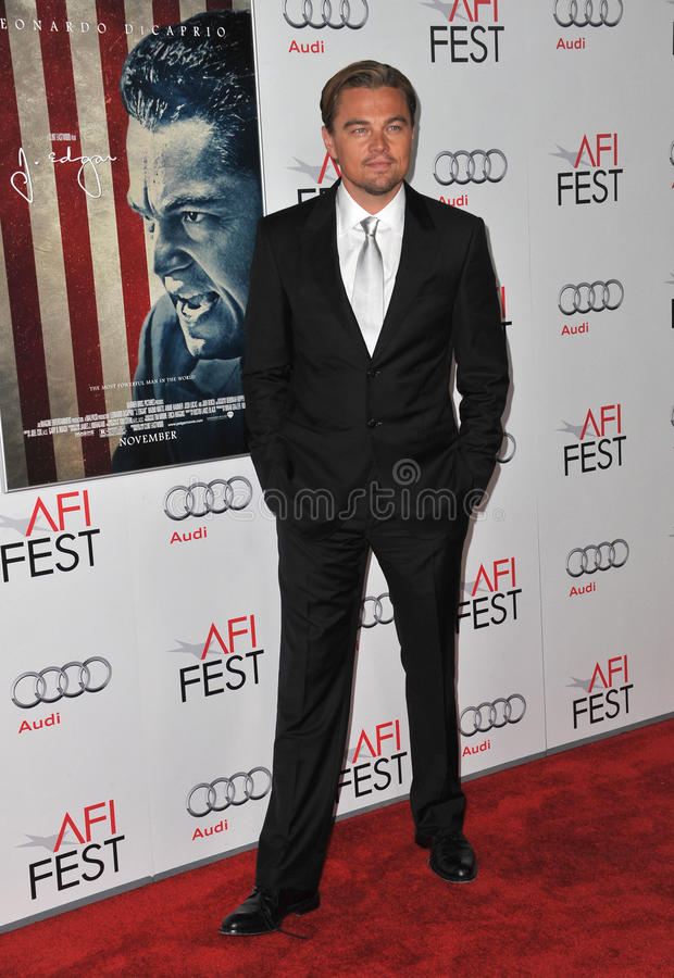 Leonardo DiCaprio. At the world premiere of his new movie J. Edgar, the opening film of the AFI FEST 2011, at Grauman's Chinese Theatre, Hollywood. November 3 royalty free stock image