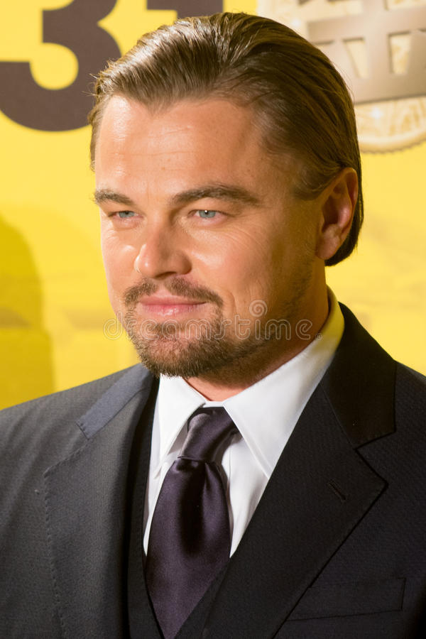 Leonardo DiCaprio. January 28, 2014 : Tokyo, Japan - Leonardo DiCaprio appears at the Japan Premiere for The Wolf of Wall Street by James Martin Scorsese in the royalty free stock images