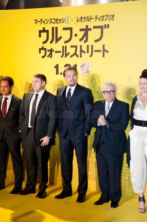 Leonardo DiCaprio, Jonah Hill, and James Martin Scorsese royalty free stock photos